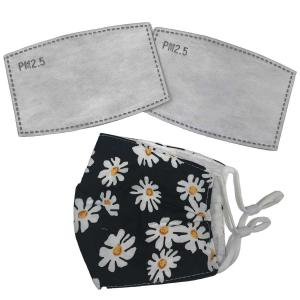 wholesale Protective Masks by Cate with Filters D24 Daisies on Black - One Size Fits All