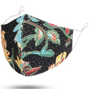 wholesale Protective Masks by Jessica with Filter Pocket #6-37 Large Floral - Black - Jessica w/ Filter Pocket -