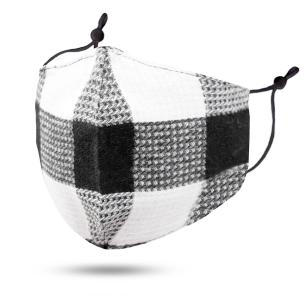 wholesale Protective Masks by Jessica with Filter Pocket #102-12 Plaid Black and White Cotton - Jessica w/ Filter Pocket -
