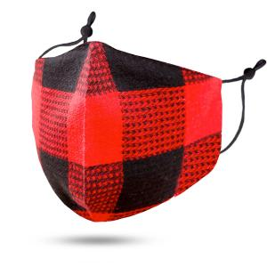 wholesale Protective Masks by Jessica with Filter Pocket #102-13 Plaid Red and Black Cotton - Jessica w/ Filter Pocket -