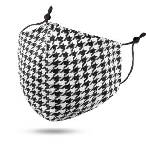 wholesale Protective Masks by Jessica with Filter Pocket #102-28 Houndstooth Black and White Cotton - Jessica w/ Filter Pocket -