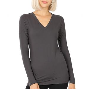 Metallic Print Shawls with Buttons Ash Grey V-Neck Long Sleeve Top (Brushed Fiber) - Small