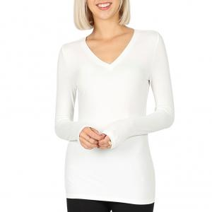 Metallic Print Shawls with Buttons Ivory V-Neck Long Sleeve Top (Brushed Fiber) - Small