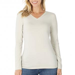 Metallic Print Shawls with Buttons Bone V-Neck Long Sleeve Top (Brushed Fiber) - Large