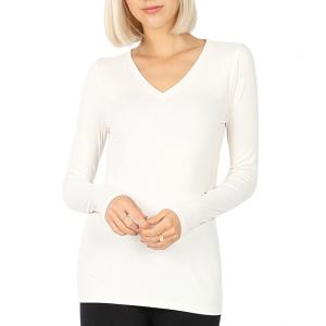 Metallic Print Shawls with Buttons Cream V-Neck Long Sleeve Top (Brushed Fiber) - Large