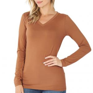 Metallic Print Shawls with Buttons Deep Camel V-Neck Long Sleeve Top (Brushed Fiber) - Large