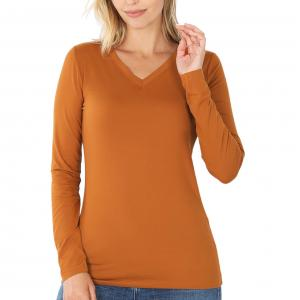 Metallic Print Shawls with Buttons Almond V-Neck Long Sleeve Top (Brushed Fiber) - X-Large