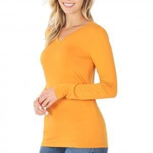 Metallic Print Shawls with Buttons Ash Mustard V-Neck Long Sleeve Top (Brushed Fiber) - X-Large