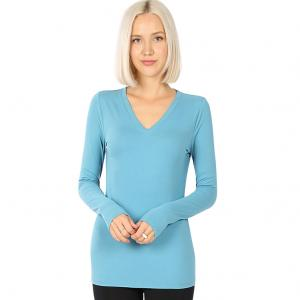 Wholesale  DUSTY TEAL 2054 (SIX PACK) V-Neck Long Sleeve Top Brushed Fiber (1S/1M/2L/2XL) - 1 Small 1 Medium 2 Large 2 Extra Large