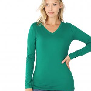 Wholesale  FOREST 2054 (SIX PACK) V-Neck Long Sleeve Top Brushed Fiber (1S/ 1M/ 2L/ 2XL) - 1 Small 1 Medium 2 Large 2 Extra Large