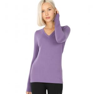 Wholesale  LILAC GREY 2054 (SIX PACK) V-Neck Long Sleeve Top Brushed Fiber (1S/ 1M/ 2L/ 2XL) - 1 Small 1 Medium 2 Large 2 Extra Large