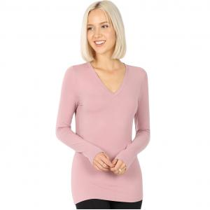 Wholesale  LIGHT ROSE 2054 (SIX PACK) V-Neck Long Sleeve Top Brushed Fiber (1S/ 1M/ 2L/ 2XL) - 1 Small 1 Medium 2 Large 2 Extra Large