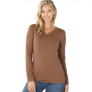 Wholesale  MOCHA 2054 (SIX PACK) V-Neck Long Sleeve Top Brushed Fiber (1S/ 1M/ 2L/ 2XL) - 1 Small 1 Medium 2 Large 2 Extra Large