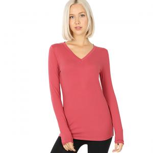 Wholesale  ROSE 2054 (SIX PACK ) V-Neck Long Sleeve Top Brushed Fiber (1S/1M/2L/2XL) - 1 Small 1 Medium 2 Large 2 Extra Large