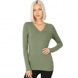 Wholesale  LIGHT OLIVE 2054 (SIX PACK ) V-Neck Long Sleeve Top Brushed Fiber (1S/1M/2L/2XL) - 1 Small 1 Medium 2 Large 2 Extra Large
