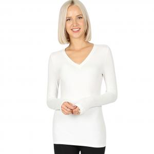 Wholesale  IVORY 2054 (SIX PACK ) V-Neck Long Sleeve Top Brushed Fiber (1S/1M/2L/2XL) - 1 Small 1 Medium 2 Large 2 Extra Large