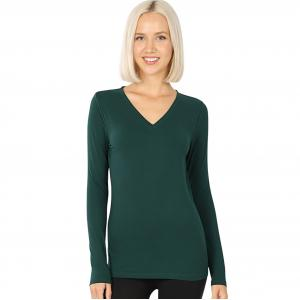 Wholesale  HUNTER GREEN 2054 (SIX PACK ) V-Neck Long Sleeve Top Brushed Fiber (1S/1M/2L/2XL) - 1 Small 1 Medium 2 Large 2 Extra Large