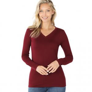 Wholesale  DARK BURGUNDY 2054 (SIX PACK ) V-Neck Long Sleeve Top Brushed Fiber (1S/1M/2L/2XL) - 1 Small 1 Medium 2 Large 2 Extra Large