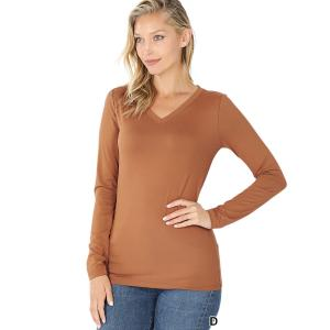 Wholesale  DEEP CAMEL 2054 (SIX PACK ) V-Neck Long Sleeve Top Brushed Fiber (1S/1M/2L/2XL) - 1 Small 1 Medium 2 Large 2 Extra Large