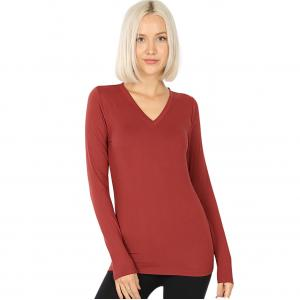 Wholesale  BRICK 2054 (SIX PACK ) V-Neck Long Sleeve Top Brushed Fiber (1S/1M/2L/2XL) - 1 Small 1 Medium 2 Large 2 Extra Large