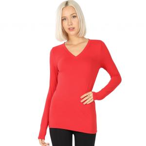 Wholesale  RUBY 2054 (SIX PACK) V-Neck Long Sleeve Top Brushed Fiber (1S/1M/2L/2XL) - 1 Small 1 Medium 2 Large 2 Extra Large