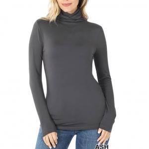 Ash Grey Ruched Turtleneck Long Sleeve - Small