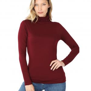 Metallic Print Shawls with Buttons Dark Burgundy Ruched Turtleneck Long Sleeve 2055 - Large