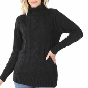 Metallic Print Shawls with Buttons Black - Braided Front Turtleneck - Large