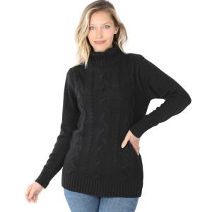 Wholesale  BLACK - Braided Front Turtleneck 21023 - Large