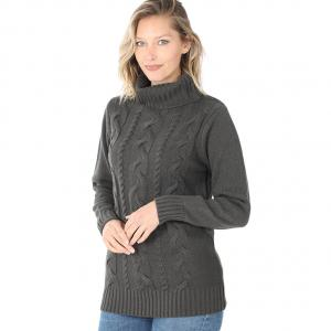 Wholesale  ASH GREY- Braided Front Turtleneck 21023 - Large