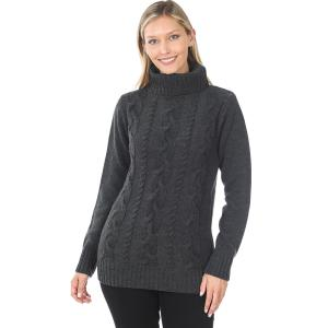Wholesale  CHARCOAL - Braided Front Turtleneck 21023 - Large