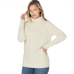 Wholesale  CREAM - Braided Front Turtleneck 21023 - Large