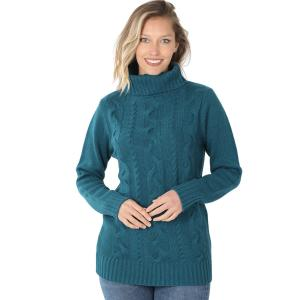 Wholesale  TEAL - Braided Front Turtleneck 21023 - Large
