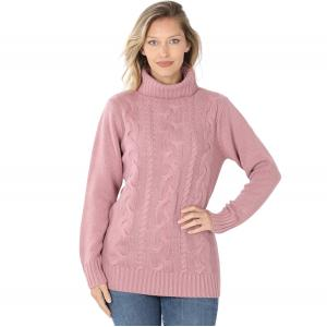 Wholesale  LIGHT ROSE - Braided Front Turtleneck 21023 - Small