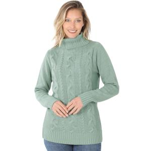 Wholesale  LIGHT GREEN - Braided Front Turtleneck 21023 - Small