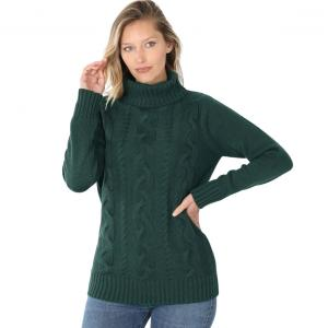 Wholesale  HUNTER GREEN - Braided Front Turtleneck 21023 - Large