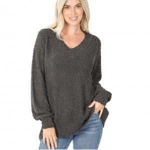 Wholesale  Ash Grey Popcorn Balloon Sleeve V-Neck 2736 - Large