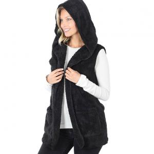 Metallic Print Shawls with Buttons Black Hooded Faux Fur with Side Pockets 2611 - Large