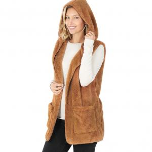 Wholesale  Deep Camel Hooded Faux Fur with Side Pockets 2611 - X-Large