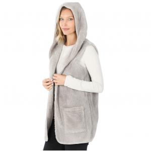 Metallic Print Shawls with Buttons Light Grey Hooded Faux Fur with Side Pockets 2611 - X-Large