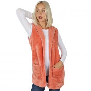 Metallic Print Shawls with Buttons Ash Rose Hooded Faux Fur with Side Pockets 2611 - Medium