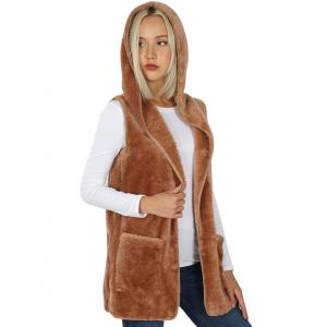 Metallic Print Shawls with Buttons Egg Shell Hooded Faux Fur with Side Pockets 2611 - Large