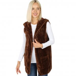 Metallic Print Shawls with Buttons Light Brown Hooded Faux Fur with Side Pockets 2611 - Small