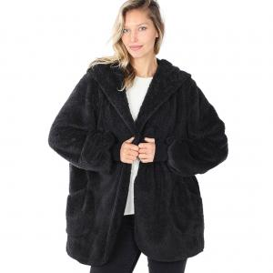 Black Hooded Faux Fur with Pockets 2615 	 - Large