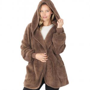 Wholesale  Mocha Hooded Faux Fur with Pockets 2615 	 - Large