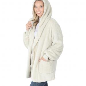 Wholesale  Bone Hooded Faux Fur with Pockets 2615 	 - Large