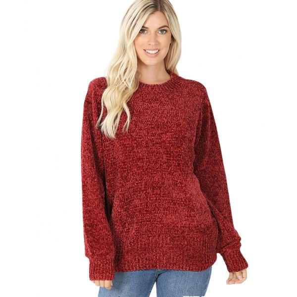 Wholesale Sweater - Round Neck Balloon Sleeve Chenille 3419 Fired Brick Round Neck Balloon Sleeve Chenille Sweater 3419 - Medium