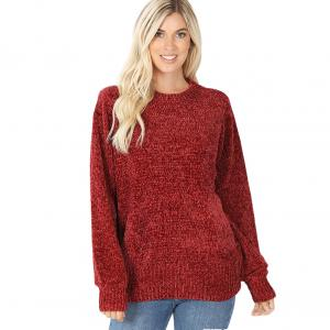 Wholesale  Fired Brick Round Neck Balloon Sleeve Chenille Sweater 3419 - X-Large