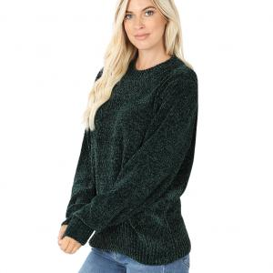 Metallic Print Shawls with Buttons Hunter Green Round Neck Balloon Sleeve Chenille Sweater 3419 - Large