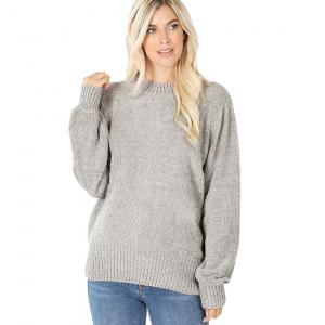 Wholesale  Light Grey Round Neck Balloon Sleeve Chenille Sweater 3419 - Small